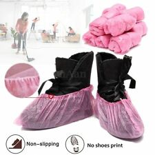 100pcs Disposable Plastic Pink Anti Slip Shoe Cover Cleaning Overshoes Protector