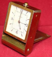 LeCoultre 8-Day Folding Travel Alarm Clock w/ Brass Case - Vintage