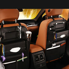 Car Seat Back Bag Organizer Storage iPad Phone Holder Multi-Pocket Leather Black