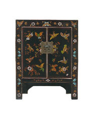 Chinese Black Lacuqer Color Butterflies Side Table Cabinet cs750
