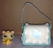 Littlest Pet Shop Yellow TABBY CAT Medical CARRIER Blue BAG House First Aid
