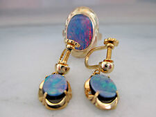 Antique 9K Yellow Gold Black Opal Ring and Earrings Set,G.I.A.Appraisal $1000.00