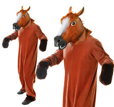 Adult Horse Fancy Dress Costume & Mask - Stag Do Party Outfit New