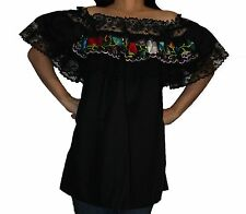 BLACK GYPSY PEASANT MEXICAN EMBROIDERED LACE OFF SHOULDER BLOUSE MEDIUM