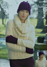 KNITTING PATTERN Ladies Cable & Bobble Jumper Cowl Hat Gloves Chunky KC 4279