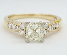 0.97 ct 14K Yellow Gold Cut Corner Princess Diamond Engagement Ring EGL USA