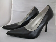 "BAKERS BLACK LEATHER POINTED TOE 4"" HIGH HEELS STILETTOS PUMPS WOMEN'S 6B EUC"