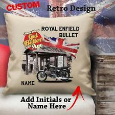 Personalised Royal Enfield Bullet Vintage Motorbike Cushion Canvas Cover Gift