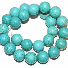 GR1990L2 Blue-Green Turquoise 15mm Smooth Round Magnesite Gemstone Beads 15""