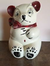 ANTIQUE BEAR COOKIE JAR WHITE WITH RED AND BLACK 10 1/2""