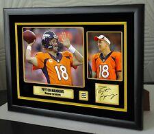 """Peyton Manning Denver Broncos Framed Canvas Portrait Signed """"Great Gift"""""""