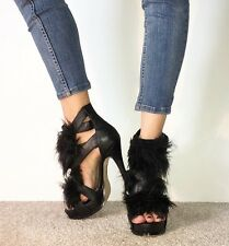RIVER ISLAND Black Leather Faux Fur Fluffy Strappy Stilettos High Heels Size 5