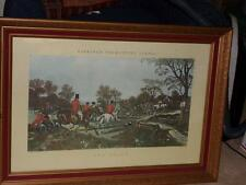 Antique Herring's Fox Hunt Scenes Engraving Print-The Death WOODEN SCROLL FRAME