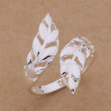925 Sterling Silver Plated DOUBLE LEAF RING Thumb/ Wrap Ring. ADJUSTABLE. Leaves