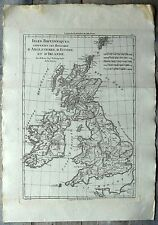 Carte ancienne BONNE antique map 1787 ANGLETERRE ECOSSE IRLANDE Great Britain 73