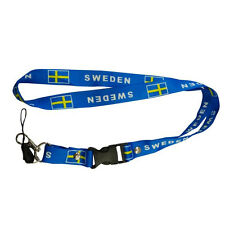 SWEDEN BLUE COUNTRY FLAG LANYARD KEYCHAIN PASSHOLDER .. NEW