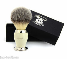 Synthetic Hair Shaving Brush Ivory & Silver Handle with Classical Box Presant
