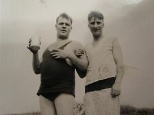 ANTIQUE VINTAGE BEACH BATHING SUIT PAJAMAS GAY INT COUPLE ON THE ROCKS OLD PHOTO