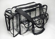 DELUVA BP007 Clear Vinyl Cosmetic Set Bag 16x10x7 W/Handles & Tissue Pouch work