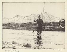 A Sutherland River, Norman Wilkinson salmon fishing print 1930s  in 10x12  mount