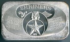 Shriners Hospitals 1973 1 Troy oz .999 Fine Silver Art Bar United States USSC