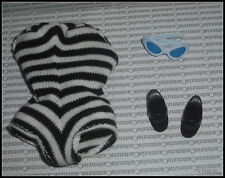 OUTFIT BARBIE DOLL REPRO #1 ZEBRA STRIPED SWIMSUIT BLACK MULES SHOES  SUNGLASSE