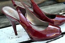 "Joan & David DARK RED Patent Leather 5"" Heels Pumps Slingback Peeptoe Sexy! 10 M"