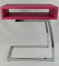 "Kid's Girls Pink & Chrome Space Age Modern Desk Homework Study 20"" Tall Retro"