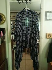 Kris Jenner Cardigan Hi-Lo Sweater Long Sleeve Chevron Strip Blue Black White L