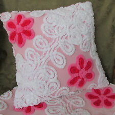 Pink Flower White Swirl Pillow Cover  Made from Vintage Chenille Bedspread 12x12