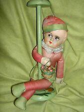 Adorable 1920s German Boudoir, Jester clown doll, hat stand~original clothing