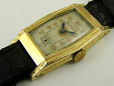 Antique 1930s Art Deco Gold Curved Bulova Wrist Watch (NEEDS WORK) LAYBY AVAILAB