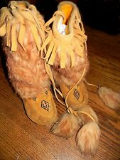 "Vintage Antique 9.25"" Native American Beaded Moose Hide Moccasins MukLuks"