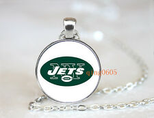 New York Jets football NFL Glass Cabochon Chain Pendant Necklace Jewelry NEW