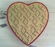 HEART CANDY BOX - Vtg 50s-60s Gold & Red Valentines Day Decoration - MUST SEE!