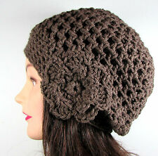 Handmade Crochet Beret Slouchy Hat Beanie TAUPE BROWN Flower One Size Acrylic