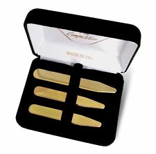 NEW Men's Brass Shirt Collar Stays Formal Boxed Set of 6 - Made in USA FREE SHIP