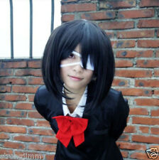 HOT@Another Misaki Mei Cosplay Costume Short Black Wig free shipping R/H