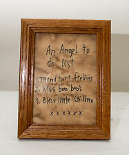 """Made-in-the-USA Rustic Embroidery on Muslin """"Angel To Do List"""""""