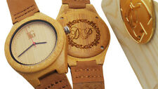 ENGRAVED PERSONALISED Wooden Watch Leather Luxury  Unisex Gents Ladies Wood Case