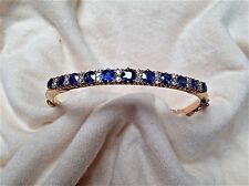 14 Karat Gold, Sapphire and Diamond Bangle-Style Bracelet
