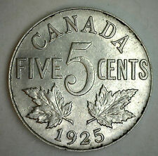 1925 Canadian Imperial Crowned Two Leaf Nickel 5 Cent Piece XF