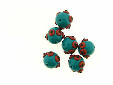 US Artisan Teal Shimmer Copper Applied Circle Dot Round Polymer Clay Set Lot