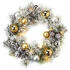 """Winter Lane 26"""" Flocked Wreath Lights ,Ornaments and Timer in  Silver and Gold"""