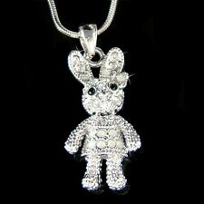 w Swarovski Crystal Cute Dangling Girl Bunny Hase Easter Rabbit Pendant Necklace