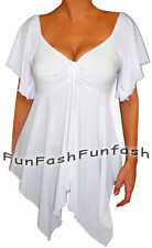 SU3 FUNFASH SLIMMING WHITE EMPIRE WAIST NEW PLUS SIZE TOP SHIRT BLOUSE 2X 22 24
