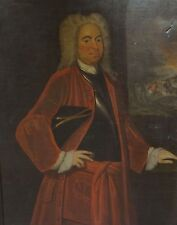 Fine Huge 18th Century Military Gentleman Officer Lord Portrait Antique Painting