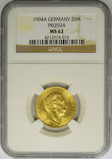 1904A German States Prussia 20 Mark Gold, NGC MS 62, King Wilhelm II.