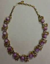Beautiful VINTAGE CORO Signed Goldtone Purple w/ Opal & Pink Rhinestone Necklace