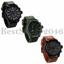 Men's Quartz Date Wide Leather Band Army Analog Military Sport Wrist Watch